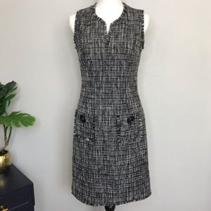 Karl Lagerfeld Tweed Shift Dress w/ Raw Edge 4
